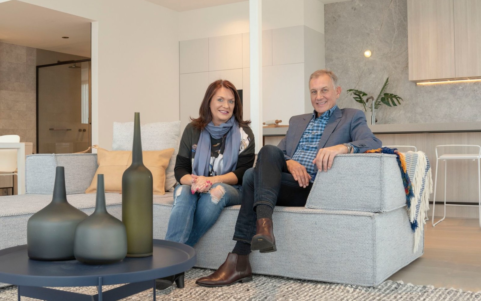 Megan and Gary Rose at the YarraBend Artisan Residences display suite. Picture: Erinna Giblin